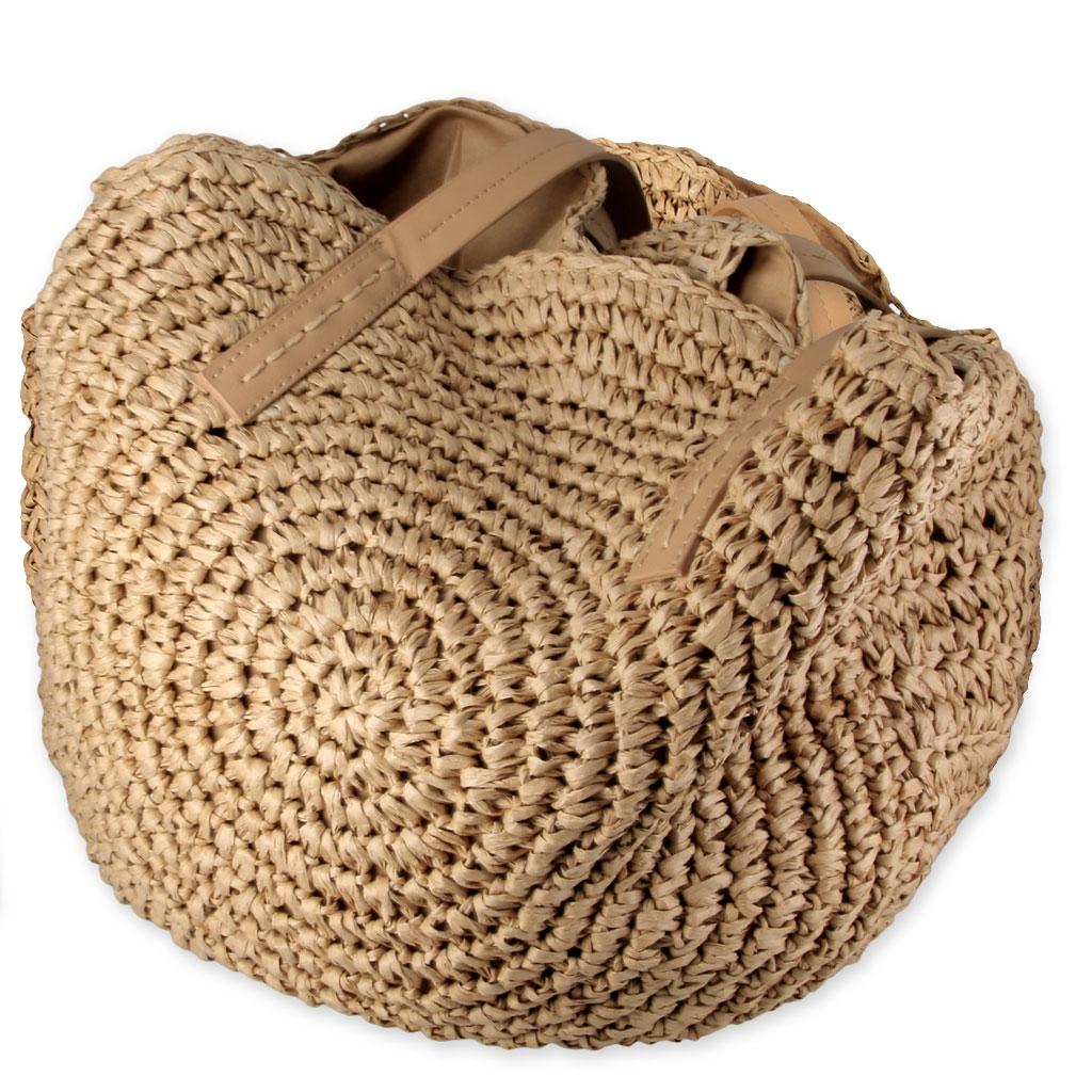 sac panier souple rond en paille tress e et cuir 45 cm. Black Bedroom Furniture Sets. Home Design Ideas