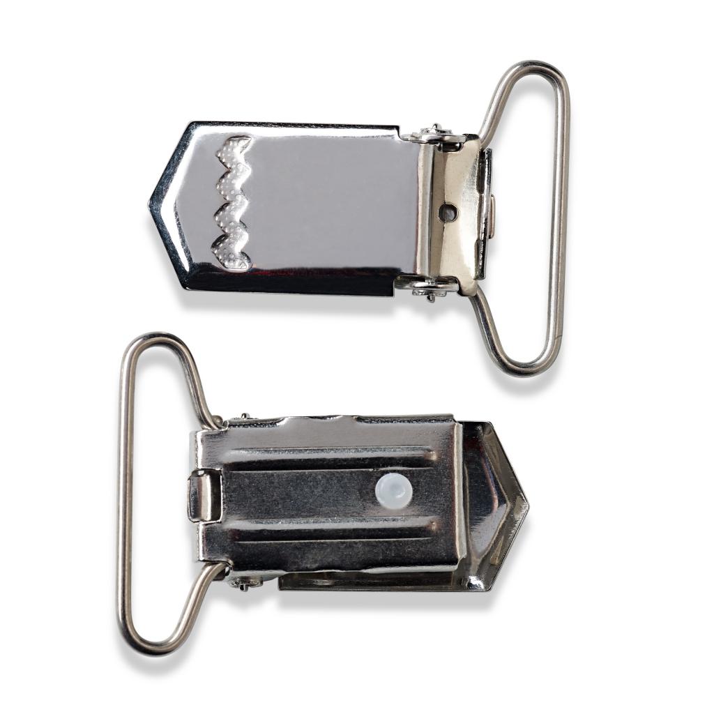 produits de qualité taille 40 découvrir les dernières tendances Set de 2 clips amovibles attache tétine/bretelle 25 mm argenté