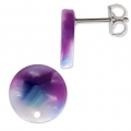 Clous d'oreilles en acétate de cellulose 12 mm Ecaille de tortue Purple x2