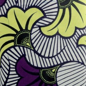 Tissu Wax Fleurs De Mariage Violet Jaune X10cm Perles Co
