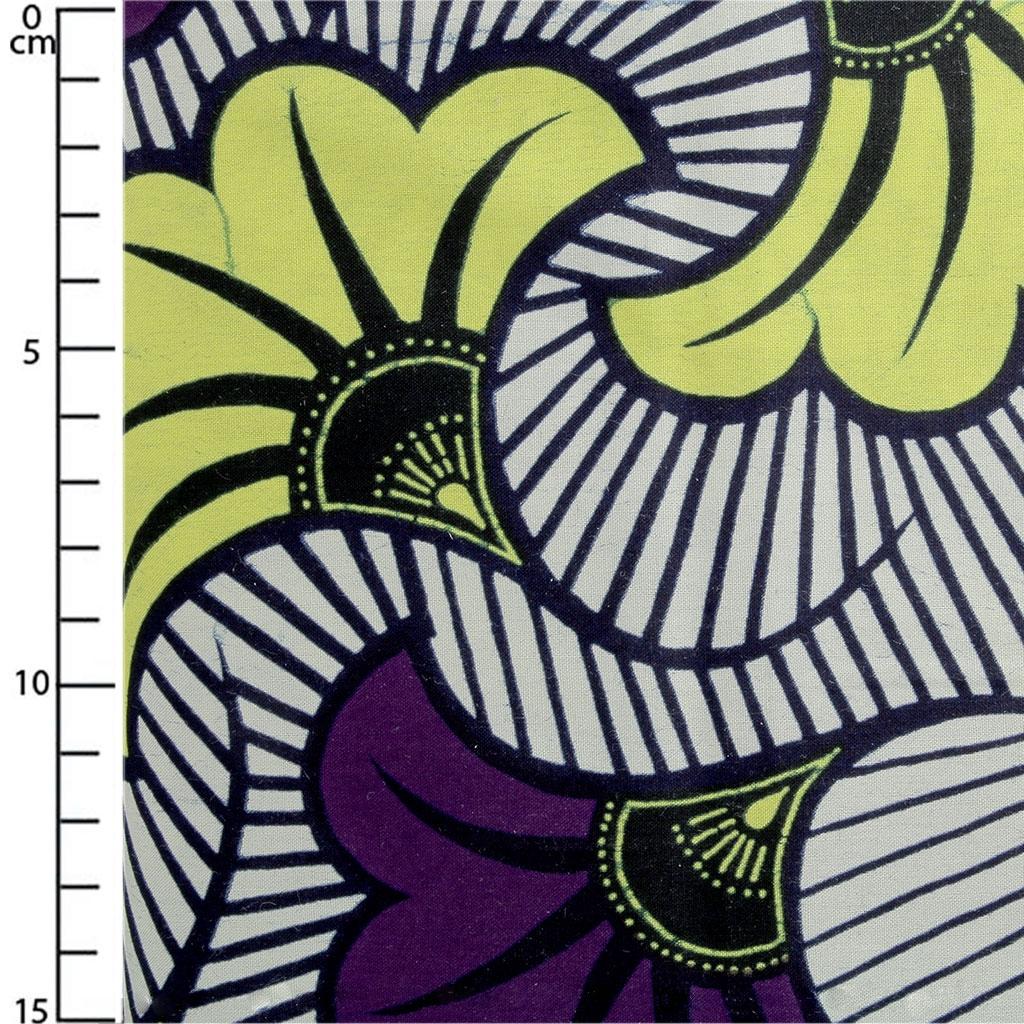 Comment Faire Un Tableau Avec Du Tissu tissu wax - fleurs de mariage - violet / jaune x10cm