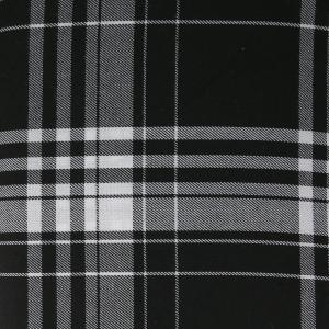 Tissu Tartan Ecossais Grands Carreaux Noir Blanc X10cm