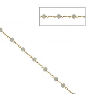 2a234ab26e9 Chaîne avec perles facettées en verre 2.95 mm Doré satiné  Gris x1m ...