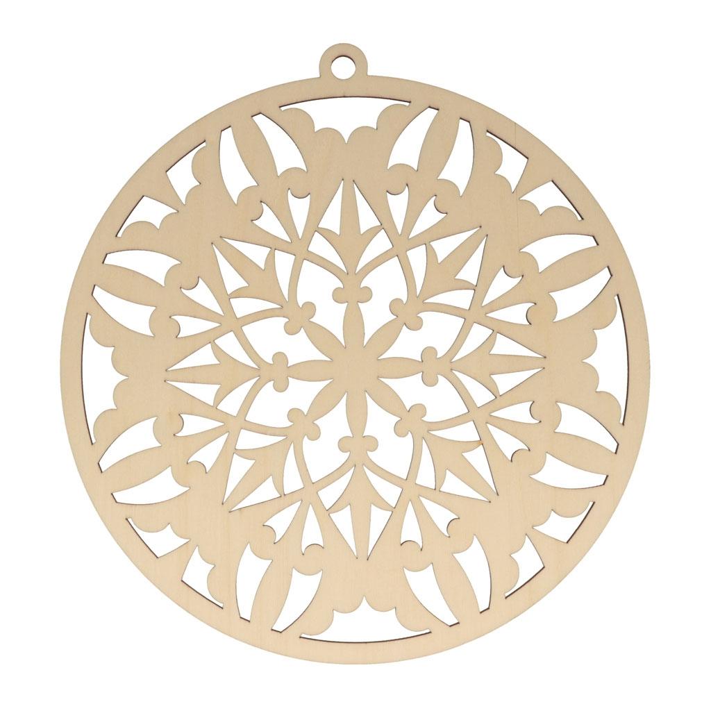 Sapin De Noel Suspendu En Bois médaillon flocon en bois à décorer et à suspendre - 20 x 21 cm - naturel x1
