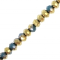 Rondes aplaties facettées 3x2 mm Royal Blue / Golden x43cm