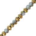 Rondes aplaties facettées 3x2 mm Light Blue / Golden x43cm