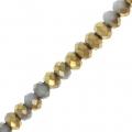 Rondes aplaties facettées 3x2 mm Dark Gray / Golden x43cm