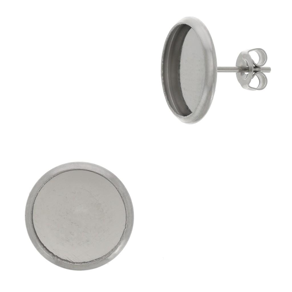 Feuille D Inox À Coller clous d'oreilles pour cabochon fond plat 12 mm en acier inox x2