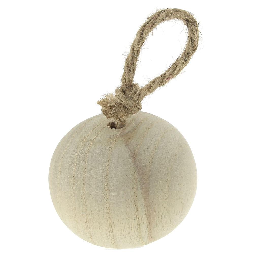 Boule De Plume A Suspendre boule en bois à décorer et à suspendre - 75mm - naturel x1