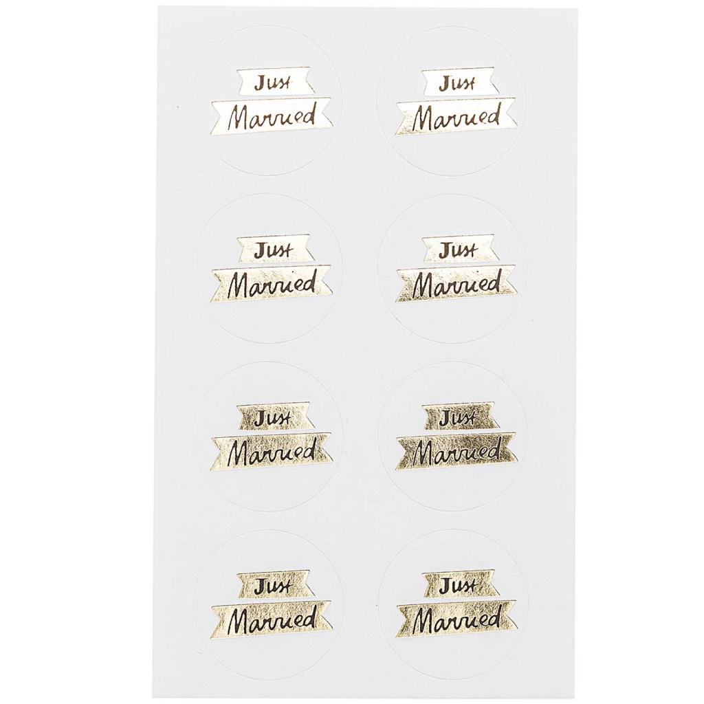 Assortiment De 32 Stickers Mariage 30mm Paper Poetry Just