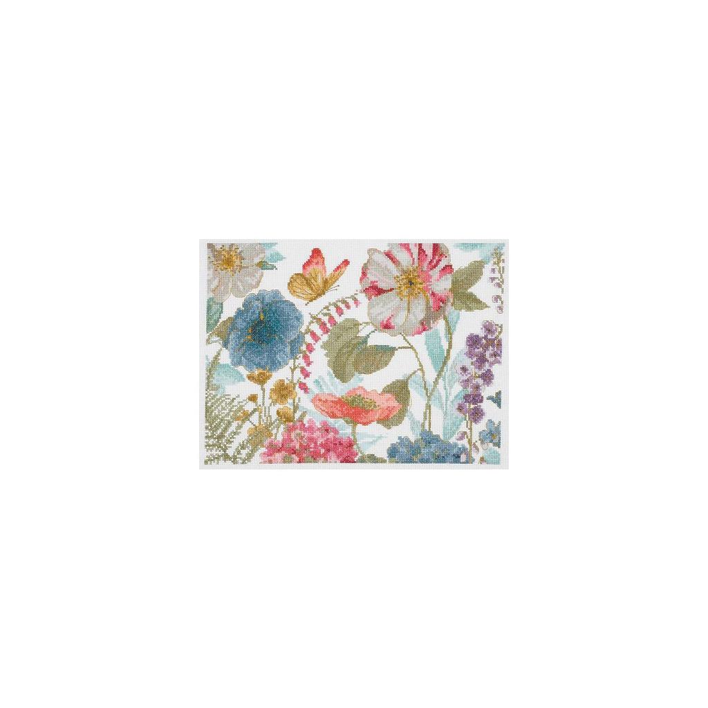 Kit Broderie traditionnelle DMC Point de croix , Aquarelle fleurs  champêtres x1