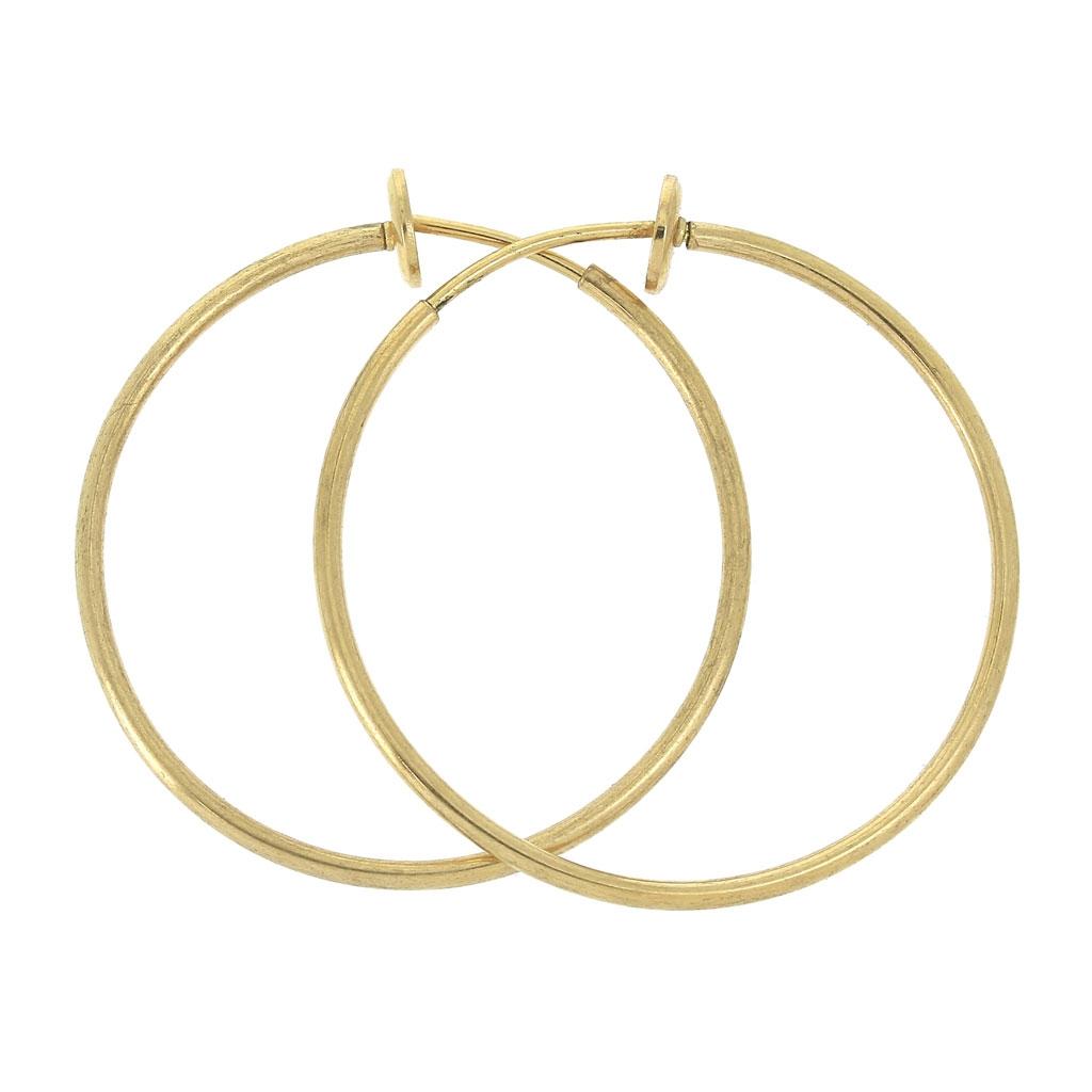 livraison gratuite de959 c47bf Créoles clips - Pour oreilles non percées - 35x1.6 mm - Doré x2