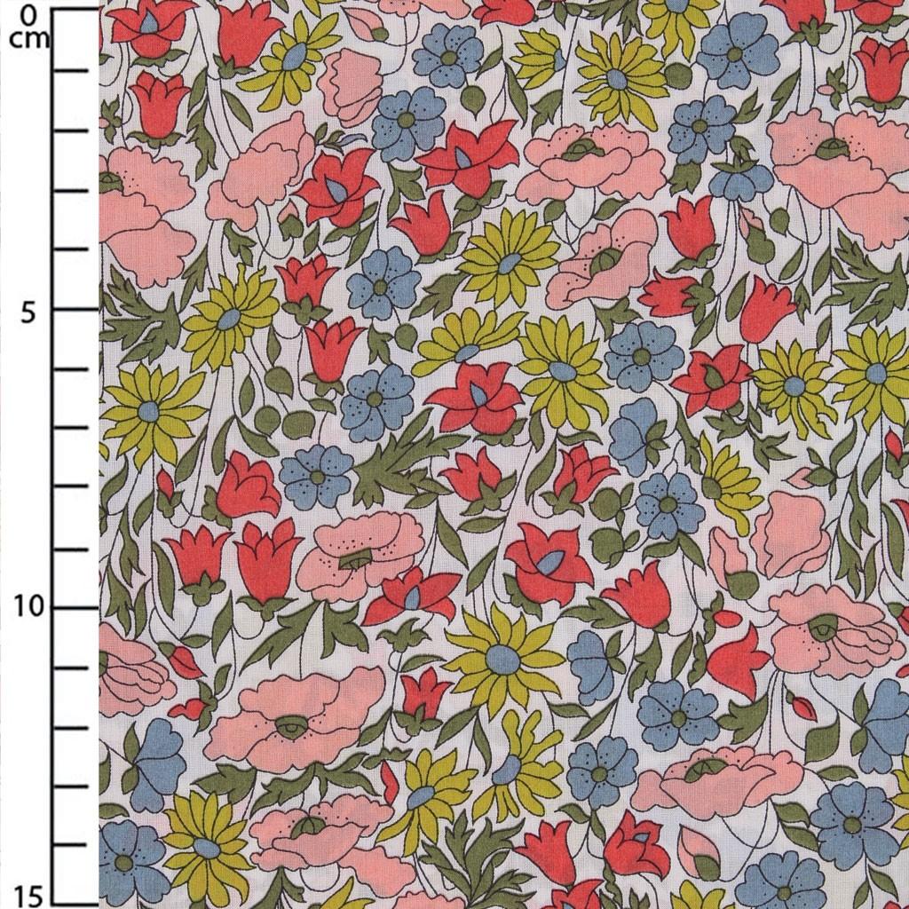 Tissu Liberty Poppy And Daisy Rosejaunevert X10cm Perles Co