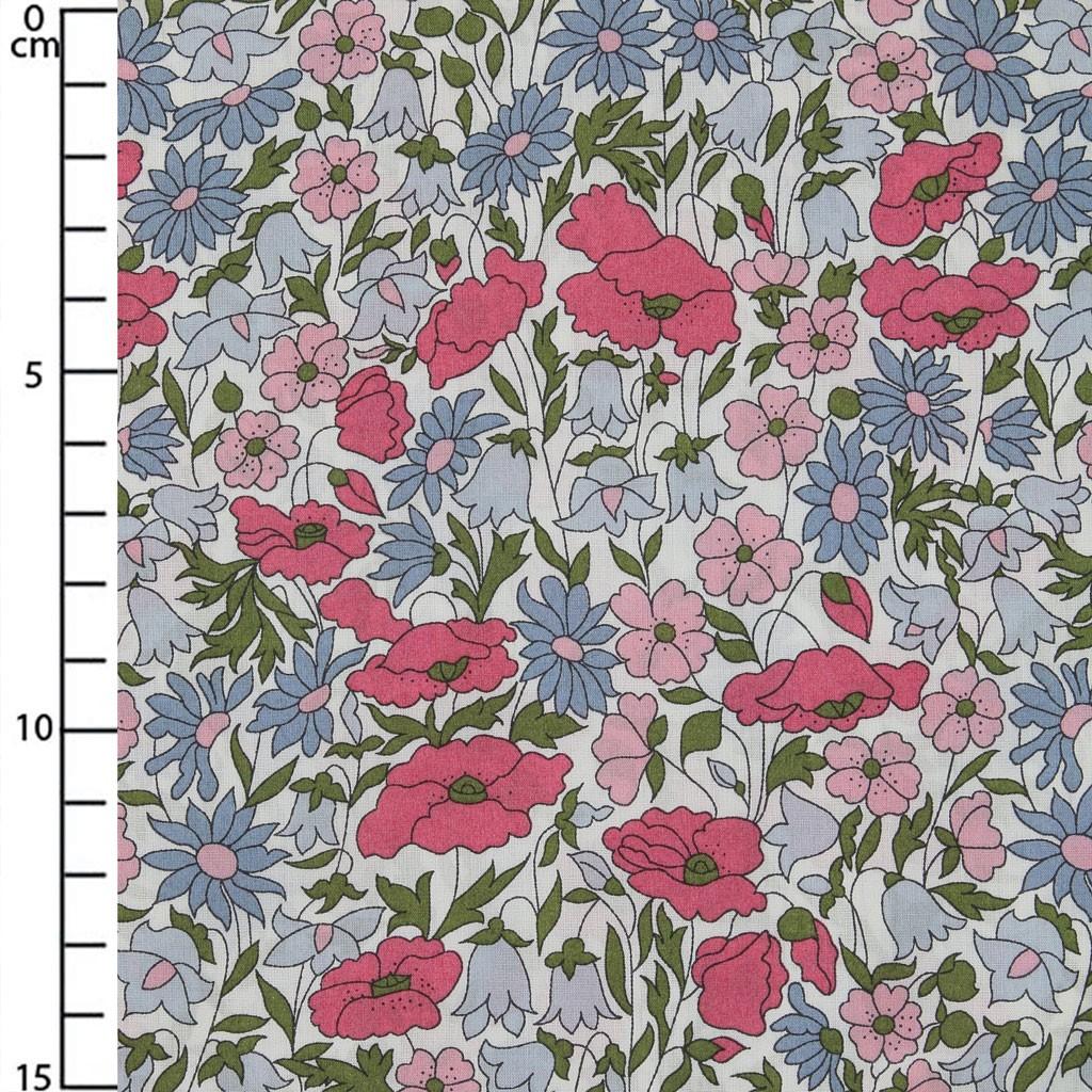 Tissu Liberty Poppy And Daisy Rose Bleu X10cm Perles Co