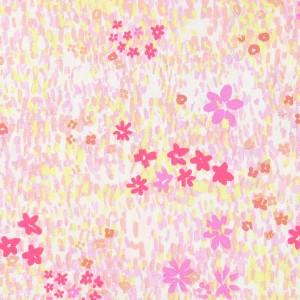 Tissu Popeline De Coton Crafted Nature Champs De Fleurs Rose Fluo X10cm