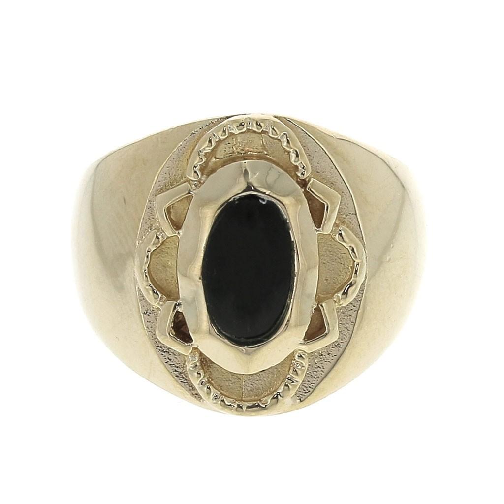 bague or onyx noir femme