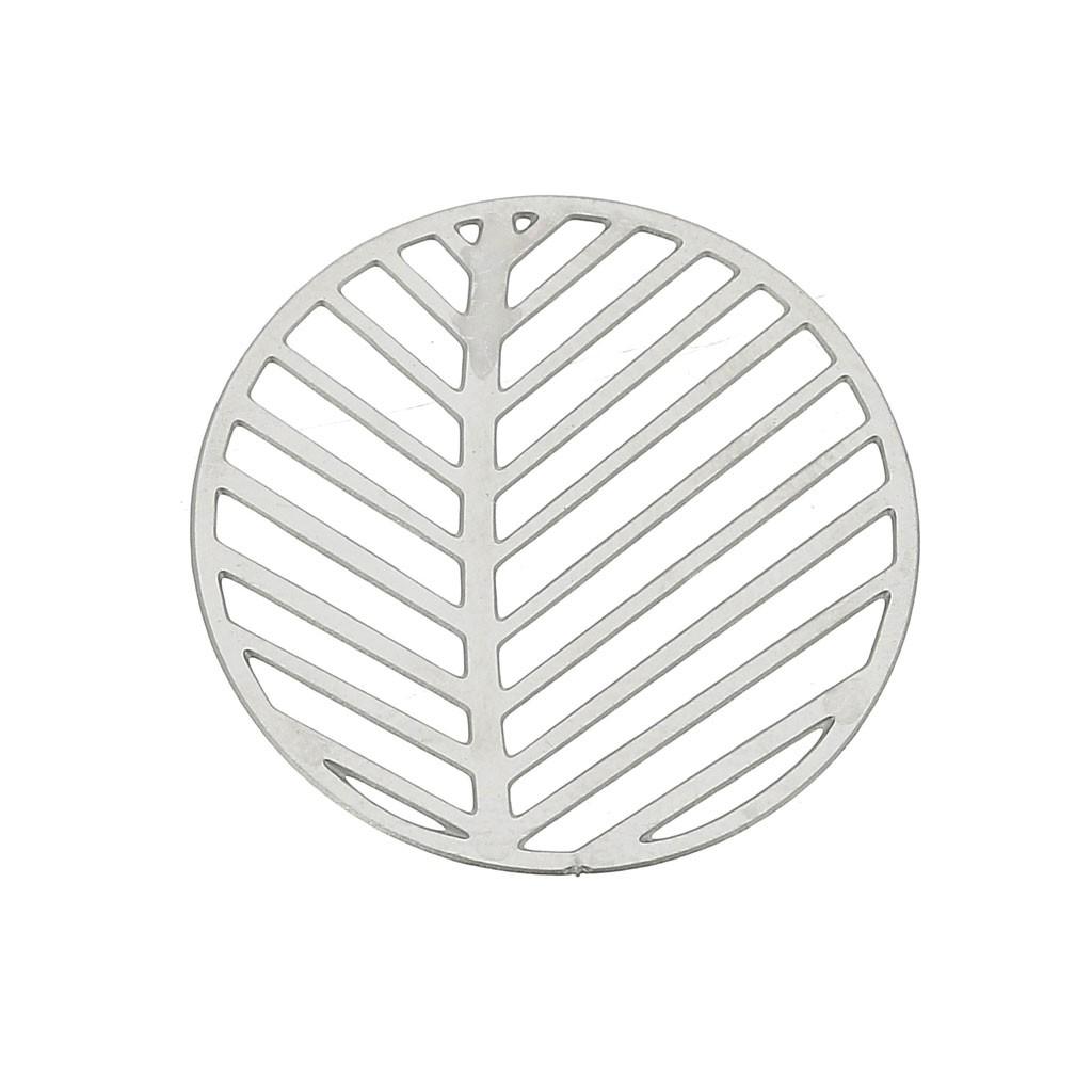 Feuille D Inox À Coller estampes rondes - motif feuilles ajourées 23 mm - acier inox x2