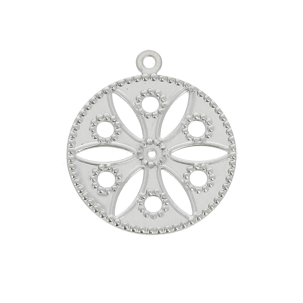 pas cher pour réduction 390d9 46c16 Estampe pendentif - motif fleur - 19mm pour la création de bijoux - Acier  inox x1