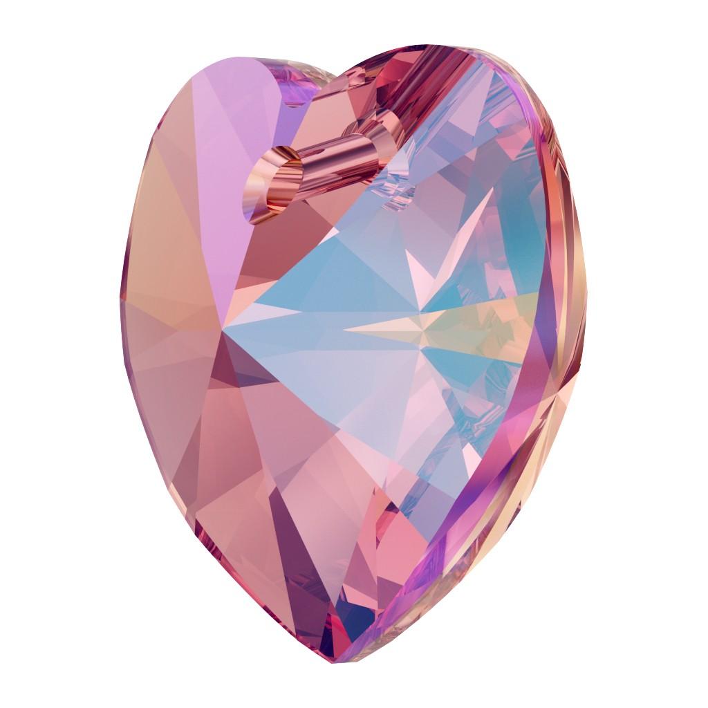 Pendentif coeur en cristal Swarovski 6228 14,4x14mm Rose Peach Shimmer x1