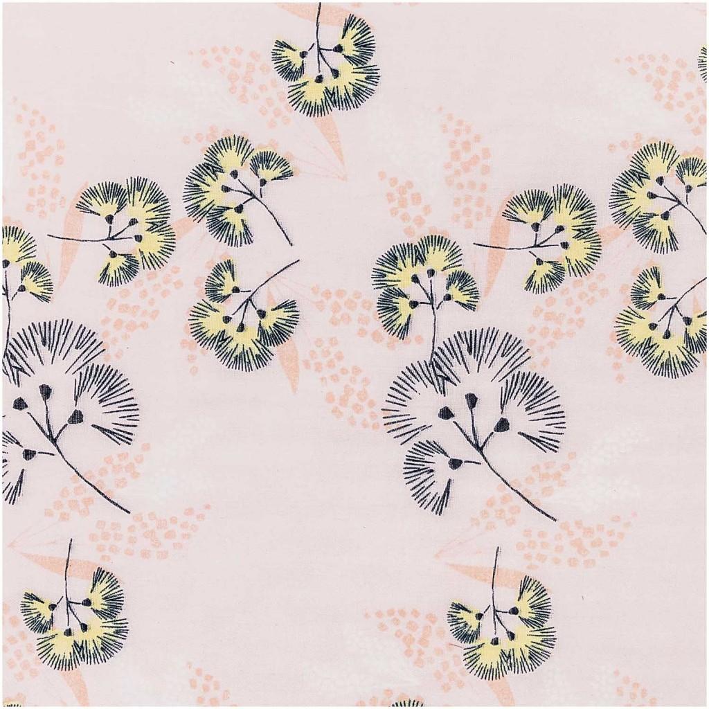 Tissu Double Gaze De Coton Fleurs Albizia Rose Jaune
