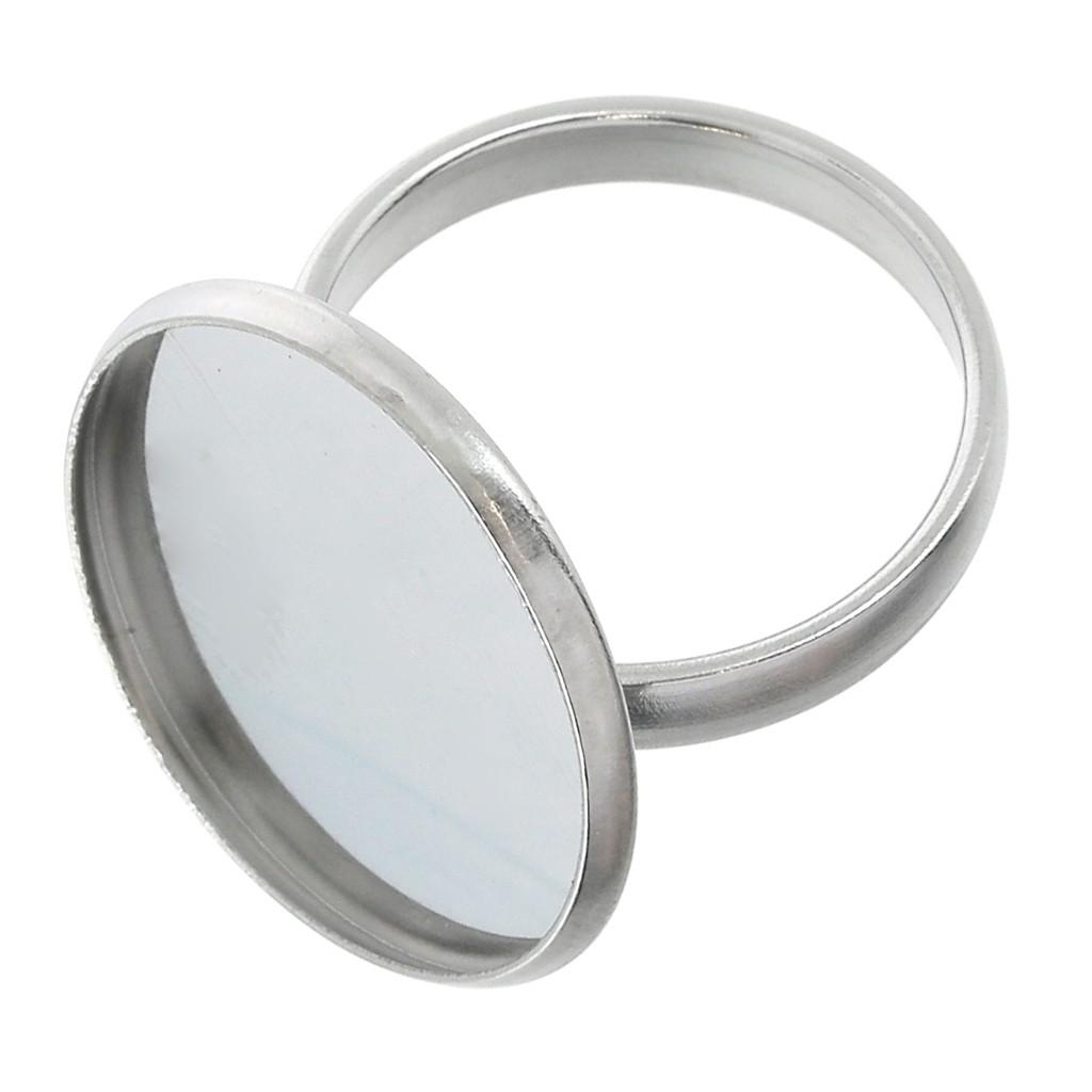Feuille D Inox À Coller bague serti réglable pour cabochon fond plat 20 mm en acier inox x1