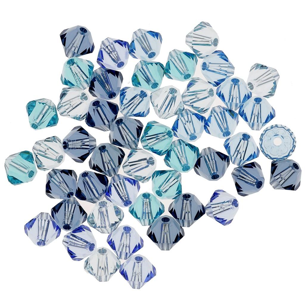 Mix de Toupies en cristal Swarovski 4 mm Bleu x50