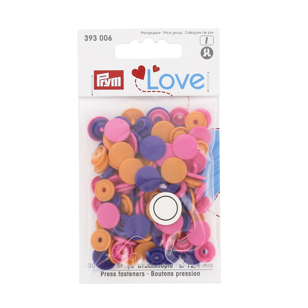 Prym 30 Boutons Pression Color-Snaps 12,4 mm ronde rose