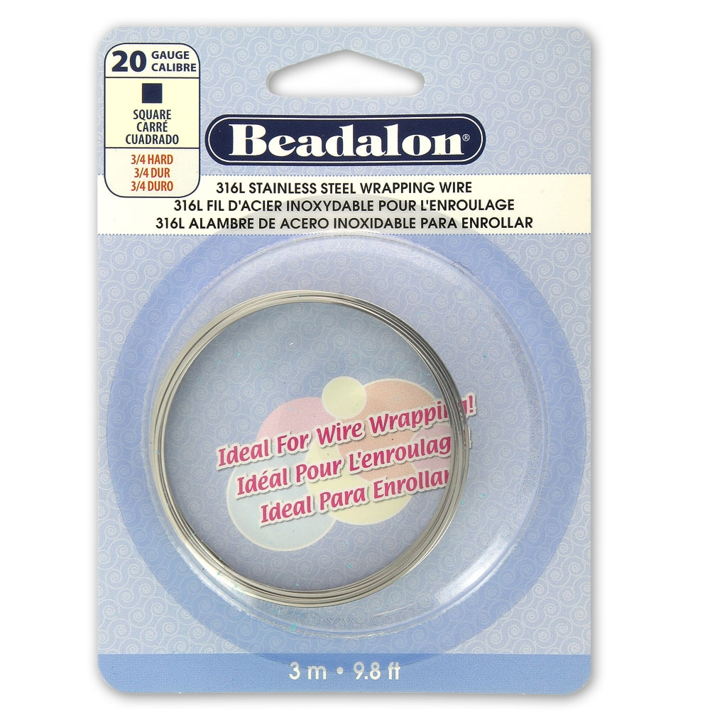 fil acier inox carr mm x3 m beadalon perles co. Black Bedroom Furniture Sets. Home Design Ideas