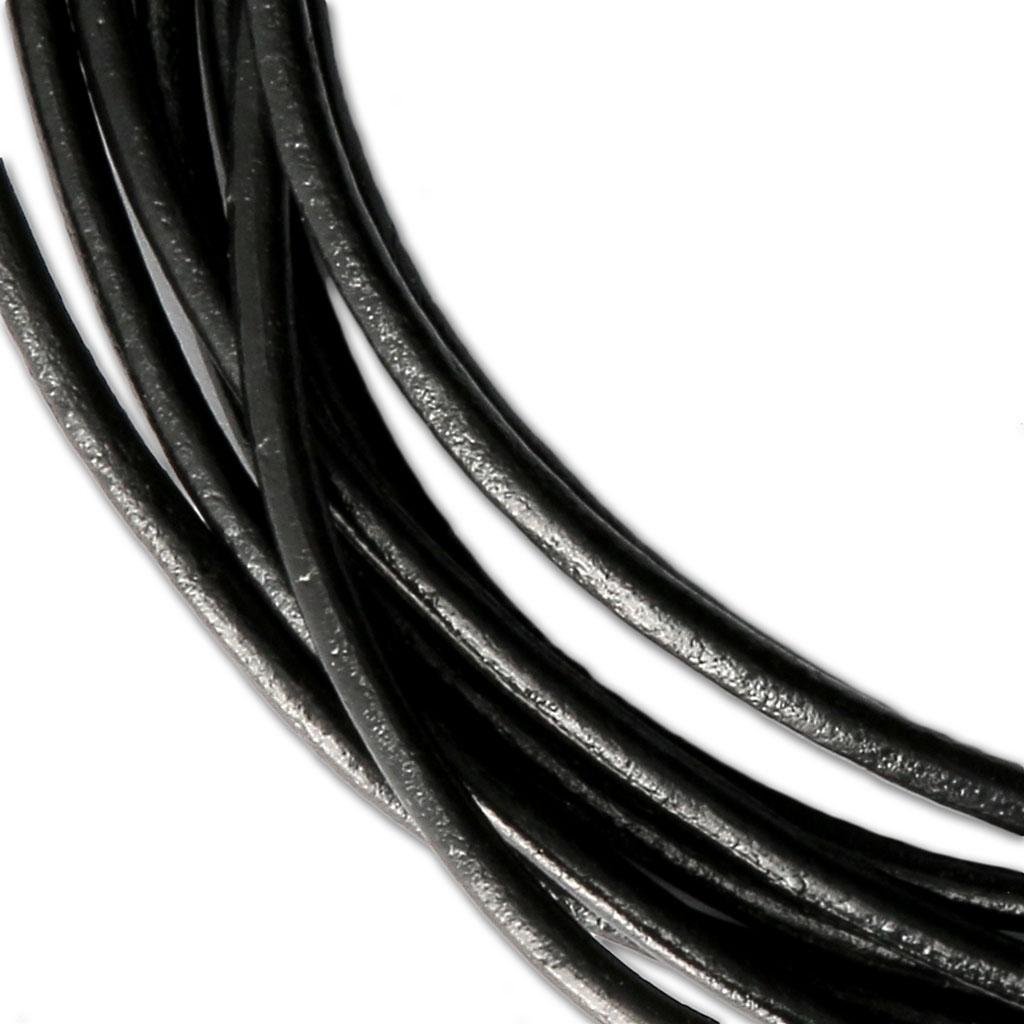 Cordon 2mm fil de soie Torsadé Noir avec Fermoir Argent 925
