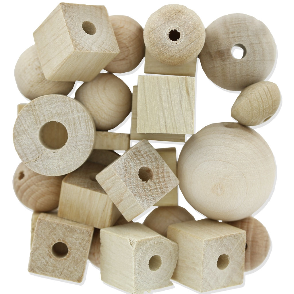 assortiment de grosses perles en bois naturel x100g preciosa perles co. Black Bedroom Furniture Sets. Home Design Ideas