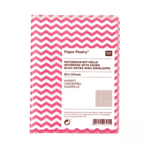 Paper Poetry bloc notes chevrons 80x105 mm Rose Fluo x1