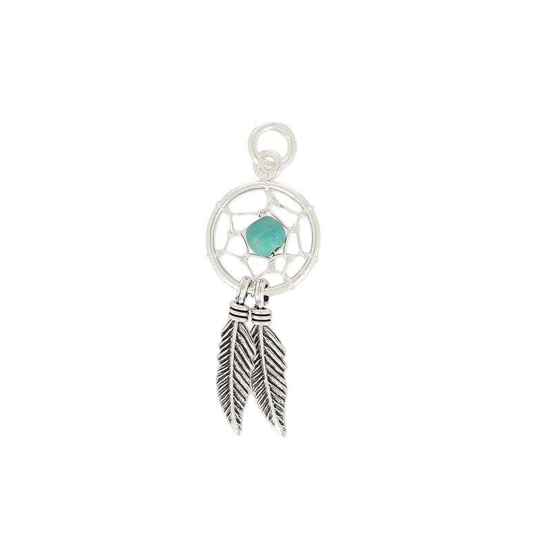 pendentif attrape r ves 12 mm argent 925 turquoise x1 perles co. Black Bedroom Furniture Sets. Home Design Ideas