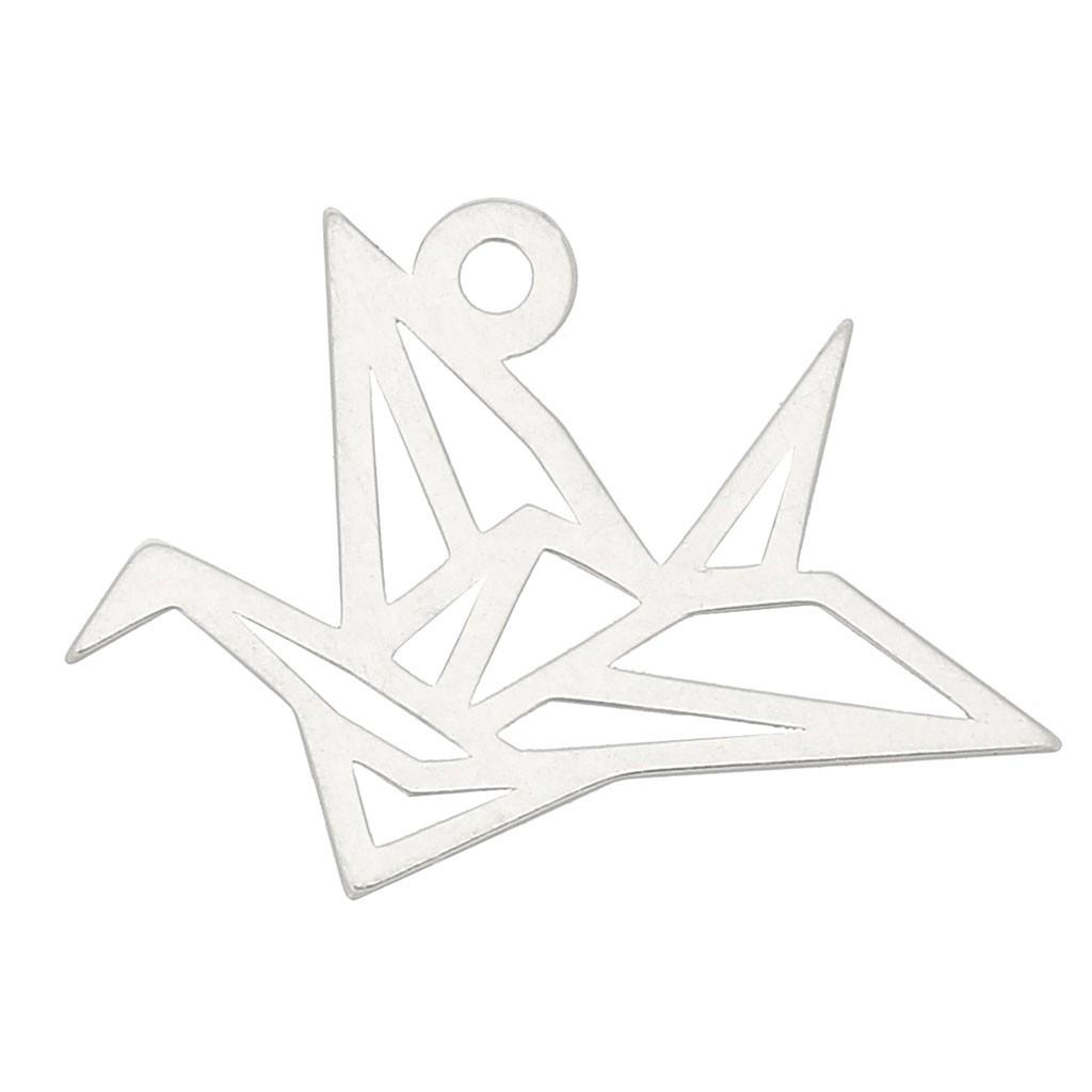 breloque grue origami 12 mm en argent 925 x1 perles co. Black Bedroom Furniture Sets. Home Design Ideas