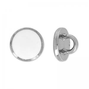 Bouton rond 10 mm Blanc/black nickel x1