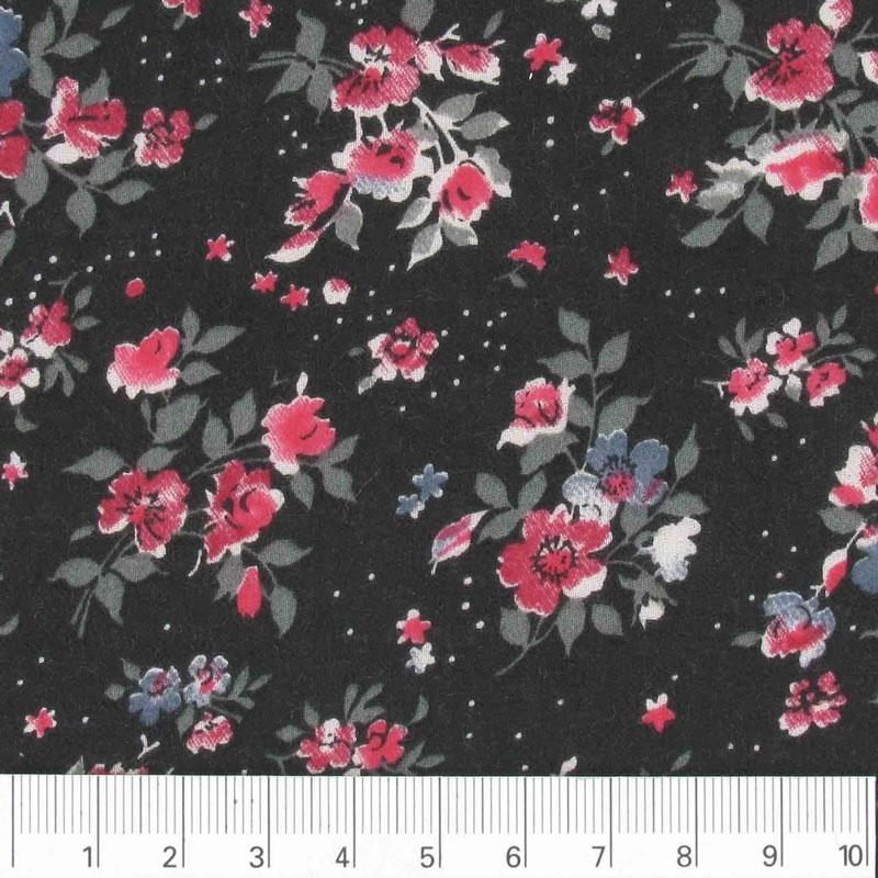 tissu twill viscose motif fleuri noir x10cm perles co. Black Bedroom Furniture Sets. Home Design Ideas