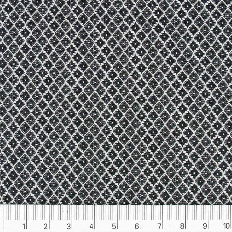 Tissu coton polyester motif losange noir blanc x10cm perles co - Motif noir et blanc ...