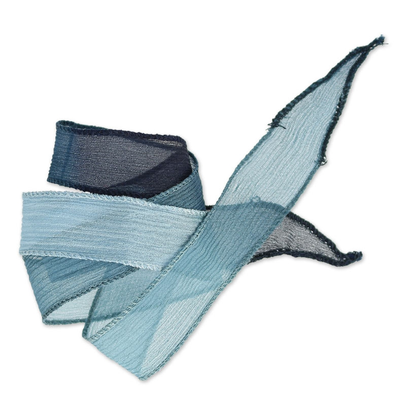 ruban en soie 25 mm tie and dye dusty blue marine bleu. Black Bedroom Furniture Sets. Home Design Ideas