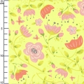 Tissu It's a Bird's Life - Floral in Yellow x10cm