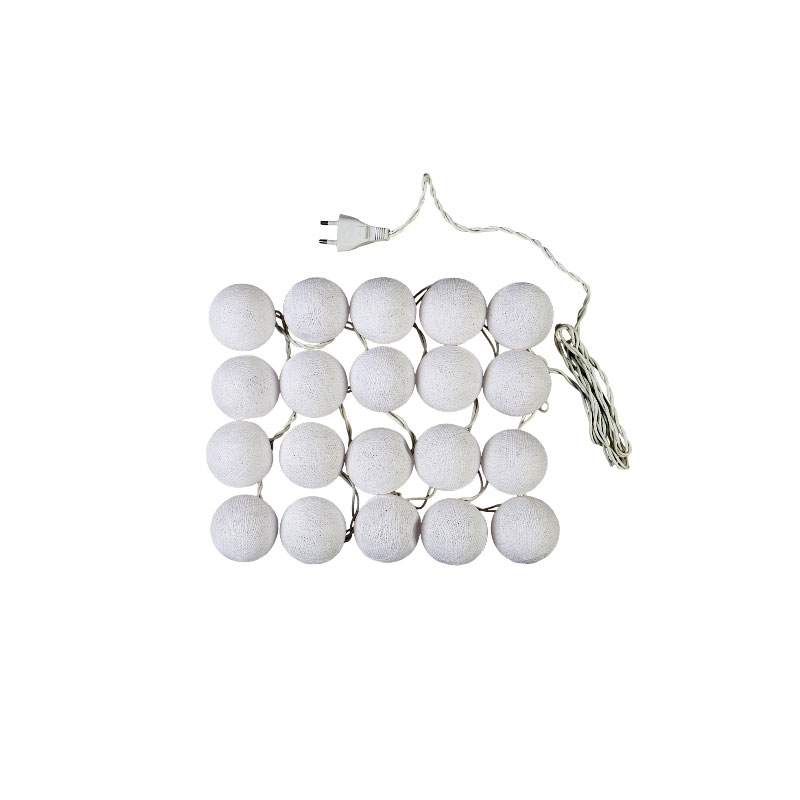 guirlande lumineuse boules 7 cm blanc x1 perles co. Black Bedroom Furniture Sets. Home Design Ideas