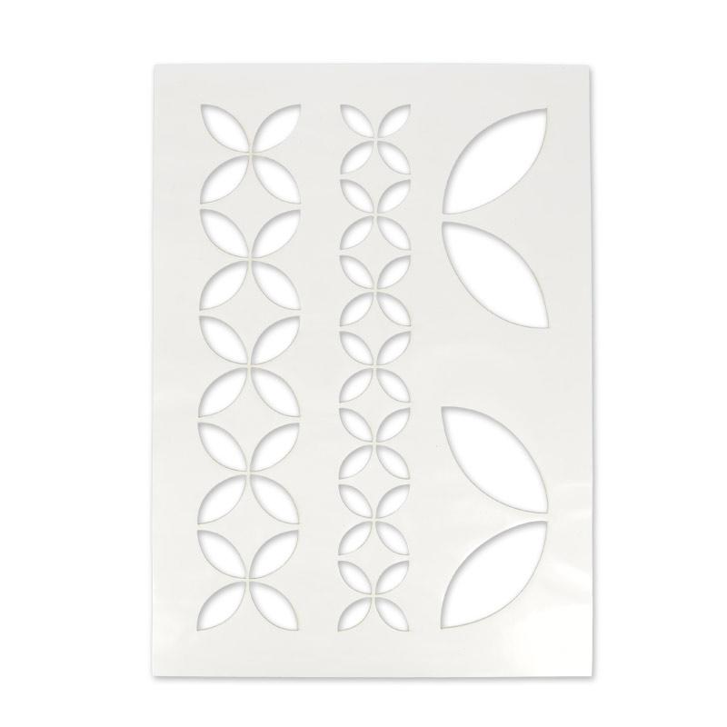 Pochoir adh sif pour tissu 210x297 mm g om trique floral for Pochoir geometrique
