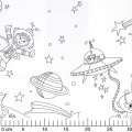 Tissu Color Me - Space Adventures White x60cm