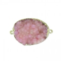 Intercalaire Druzy Agate 2 anneaux 35 mm Light Purple/doré x1