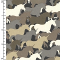 Tissu Houndstooth & Friends - Taupe Unicorn Herd x10cm