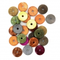 Assortiment de perles coco disques 15 mm Multicolore x25