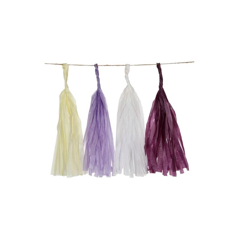 guirlande pompons en papier de soie 25 4 cm lilas aubergine x1 perles co. Black Bedroom Furniture Sets. Home Design Ideas