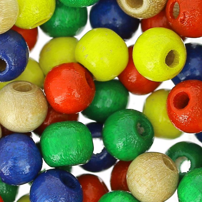 perles rondes en bois 6 mm multicolore x125 perles co. Black Bedroom Furniture Sets. Home Design Ideas
