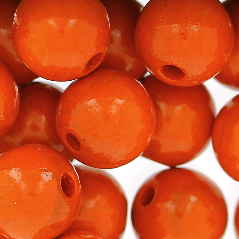 grosses perles rondes en bois 12 mm orange x30 perles co. Black Bedroom Furniture Sets. Home Design Ideas