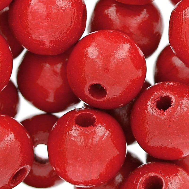 grosses perles rondes en bois 12 mm rouge x30 perles co. Black Bedroom Furniture Sets. Home Design Ideas