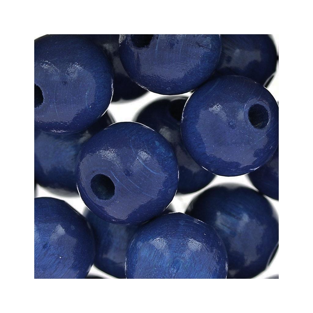 grosses perles rondes en bois 12 mm bleu marine x30. Black Bedroom Furniture Sets. Home Design Ideas