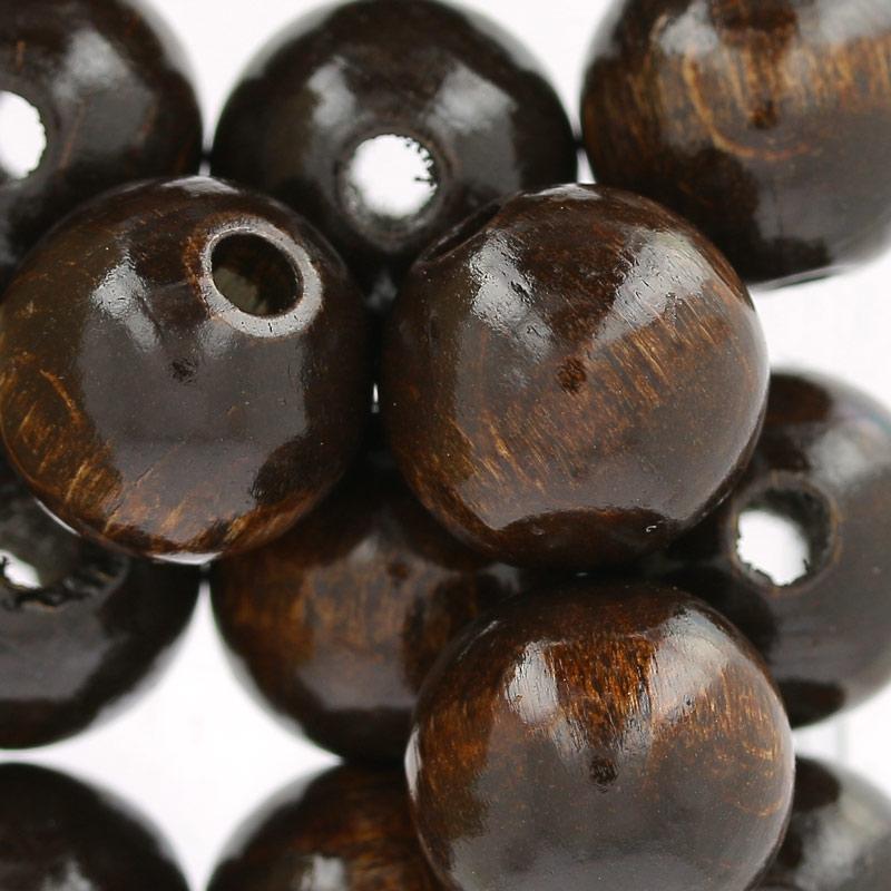 grosses perles rondes en bois 15 mm brun x15 perles co. Black Bedroom Furniture Sets. Home Design Ideas